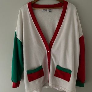Vintage snap up retro red and green sweater sz L